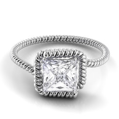 Danhov Abbraccio Princess Solitaire Swirl Engagement Ring AE135-PR