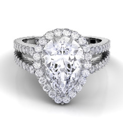 Danhov Carezza Pear Shape Halo Double Shank Engagement Ring XE109-PS