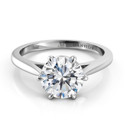 Danhov Classico Round Solitaire Single Shank Engagement Ring CL110
