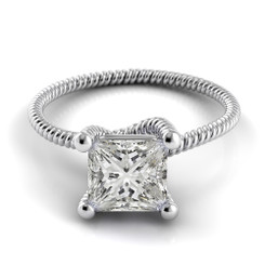 Danhov Eleganza Princess Solitaire Braided Engagement Ring ZE110-PR