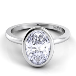 Danhov Per Lei Oval Solitaire Single Shank Engagement Ring LE100-OV