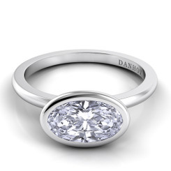 Danhov Per Lei Oval East West Solitaire Single Shank Engagement Ring LE100-OVEW