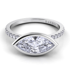 Danhov Per Lei Marquis East West Solitaire Single Shank Engagement Ring LE103-MQEW