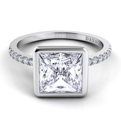 Danhov Per Lei Princess Solitaire Single Shank Engagement Ring LE103-PR