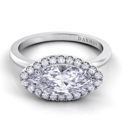 Danhov Per Lei Marquis East West Halo Single Shank Engagement Ring LE104-MQEW