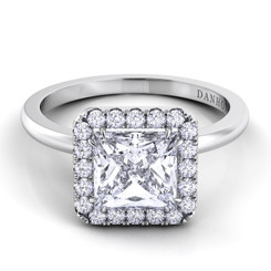 Danhov Per Lei Princess Halo Single Shank Engagement Ring LE104-PR