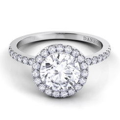 Danhov Per Lei Round Halo Single Shank Engagement Ring LE105