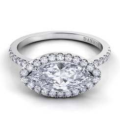 Danhov Per Lei Marquis East West Halo  Engagement Ring LE105-MQEW