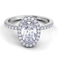 Danhov Per Lei Oval Halo Single Shank Engagement Ring LE105-OV