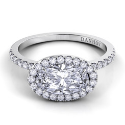 Danhov Per Lei Oval East West Halo Single Shank Engagement Ring LE105-OVEW