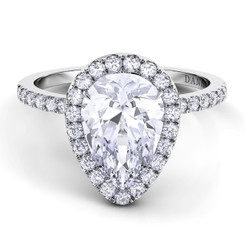 Danhov Per Lei Pear Shape Halo Single Shank Engagement Ring LE105-PS