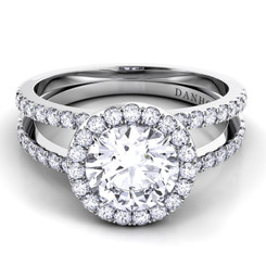 Danhov Per Lei Round Halo Double Shank Engagement Ring LE106