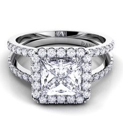 Danhov Per Lei Princess Halo Double Shank Engagement Ring LE106-PR