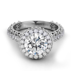 Danhov Petalo Round Halo Engagement Ring FE102