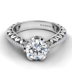 Danhov Petalo Round Halo Engagement Ring FE108