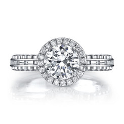 Danhov Tubetto Round Halo Engagement Ring TE113
