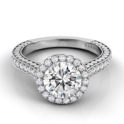 Danhov Tubetto Round Halo Single Shank Engagement Ring TE124
