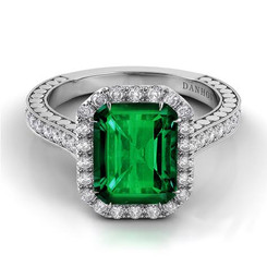 Danhov Tubetto Emerald Halo Single Shank Engagement Ring TE124-EM