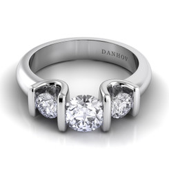 Danhov Voltaggio Round Tension Set Single Shank Engagement Ring V115
