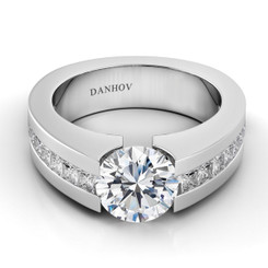Danhov Voltaggio Round Tension Set Single Shank Engagement Ring V151