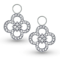 KC Designs Diamond Clover Earring Charms in 14k White Gold with 80 Diamonds weighing .36 Carats CH4607