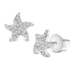 KC Designs Starfish Diamond Earrings in 14k White Gold with 58 Diamonds weighing .25 Carats E10616