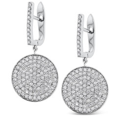 KC Designs Diamond Disc Drop Earrings in 14k White Gold with 202 Diamonds weighing 2.05 Carats E12924