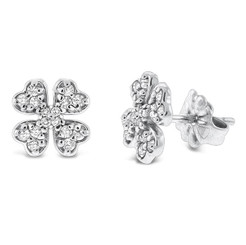 KC Designs Diamond Clover Earrings in 14k White Gold with 32 Diamonds weighing .28 Carats