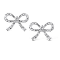 KC Designs Diamond Mini Bow Earrings with 44 Diamonds weighing .19 Carats E12983
