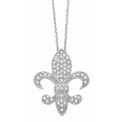 KC Designs Diamond Medium Fleur Di Lis Necklace with 54 Diamonds weighing .33 Carats