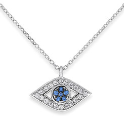KC Designs Blue Sapphire and Diamond Evil Eye Necklace with 26 Diamonds weighing .14 Carats N12404