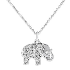 KC Designs Diamond Elephant Necklace with 27 Diamonds weighing .12 Carats N11434