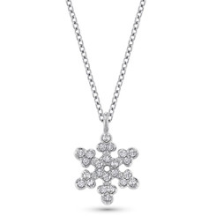 KC Designs Diamond Snowflake Necklace with 24 Diamonds weighing .14carats N5436