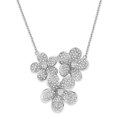 KC Designs Diamond Triple Flower Necklace with 203 Diamonds weighing 1.00 carats N12796