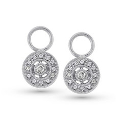 KC Designs Diamond Circle Drop Earring Charms with 26 Diamonds weighing .14 carats