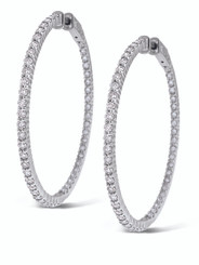 KC Designs Diamond Inside Outside Hoop Earrings with 100 Diamonds weighing 2.55 carats E3783
