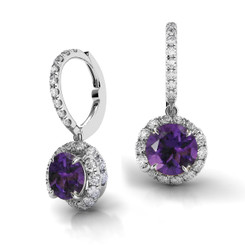 Danhov Abbraccio Swirl Diamond Drop Earrings Amethyst AH101-AM