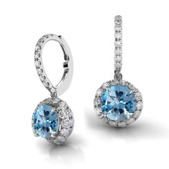 Danhov Abbraccio Swirl Diamond Drop Earrings Blue Topaz AH101-BT