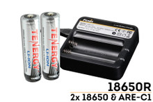 18650 Fenix Charger with Two TENERGY 18650 Rechargeable Batteries