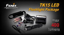 Fenix TK15 LED Flashlight/Battery Charger/Batteries Pkg.