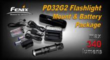 Fenix PD32G2 LED Flashlight Mount Kit w/Charger & Batteries Pkg.