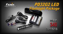 Fenix PD32G2 LED Flashlight/18650 Charger & Batteries Pkg.