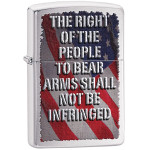 Zippo Silver Brushed Chrome Lighter - American Flag