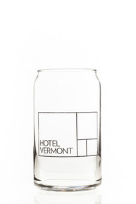 Hotel Vermont 16 oz beer can glass
