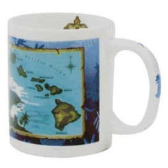 Hawaii Coffee Mugs 4 Pack Blue Island Chain