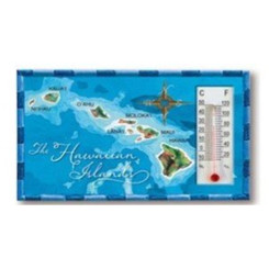 Hawaiian Magnet Map Blue Thermometer
