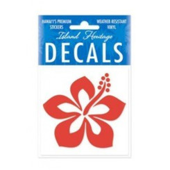 Hawaii Decal Graphic Hibiscus Red Square 2.9""