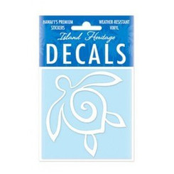 """Hawaii Decal Turtle White Square 2.9"""""""