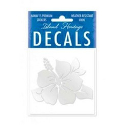 Hawaii Decal Single Hibiscus Silver Square 2.9""