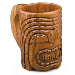 "Hawaiian Wood Mug Tiki 5"" Tall"
